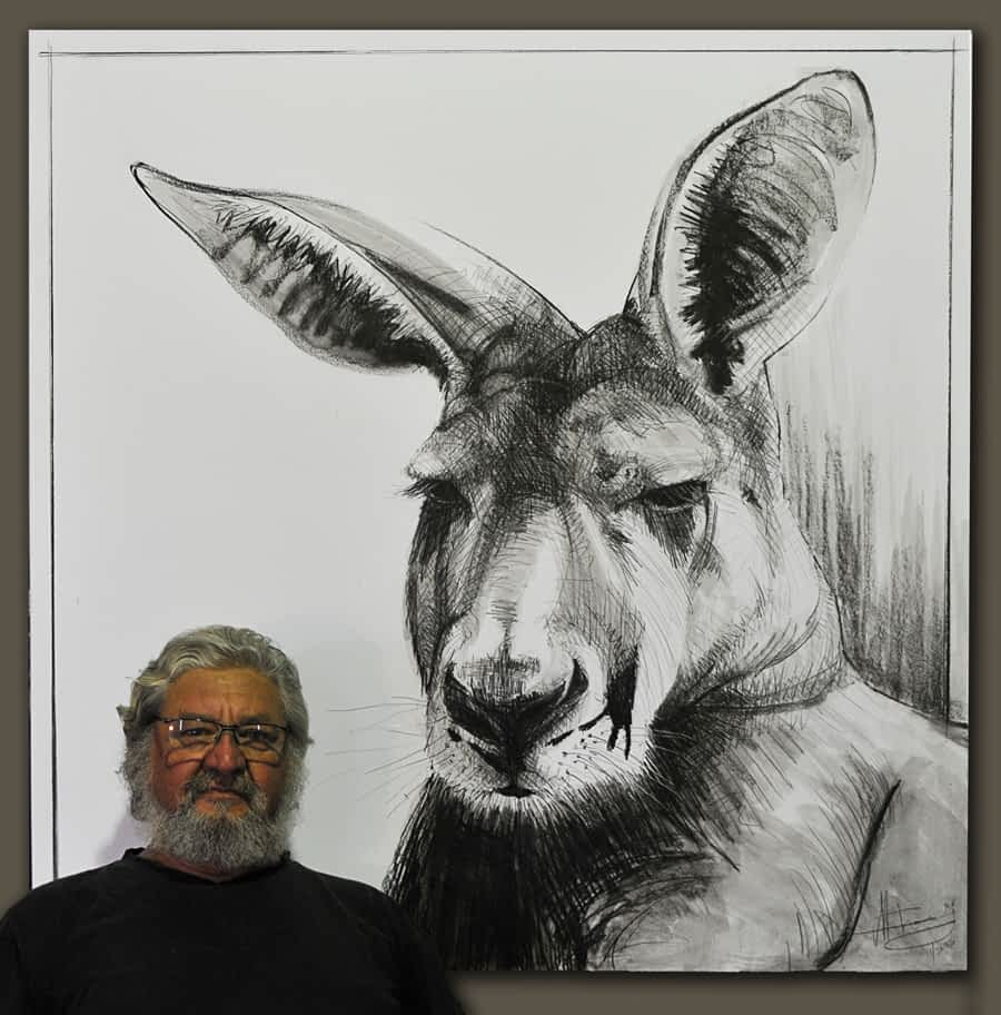 Kangaroo drawing 14 by Michael Chorney