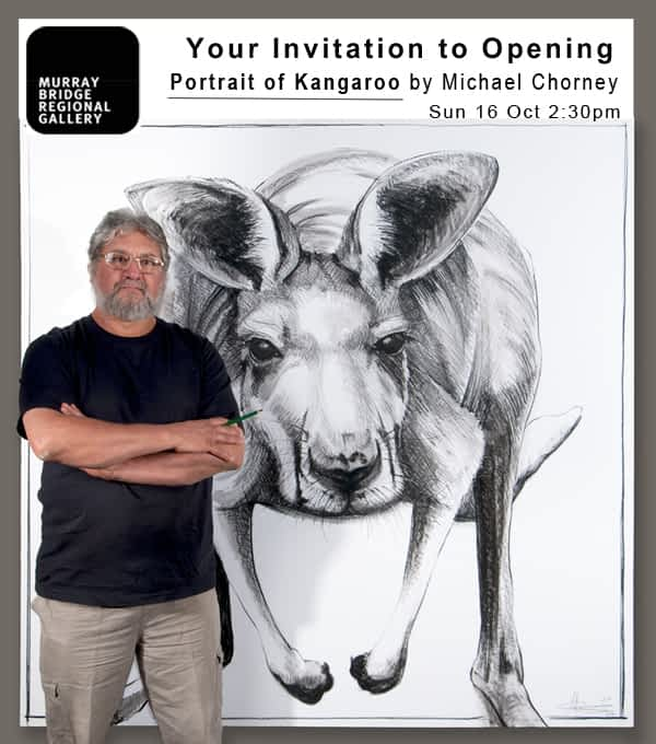 Portrait of Kangaroo by Michael Chorney exhibition invitation